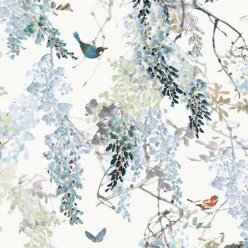 Обои Sanderson | Коллекция Waterperry Wallpapers Wisteria Falls Panel A