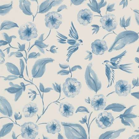 Обои Sanderson | Коллекция Aegean Vinyl Wallpapers Bird Blossom
