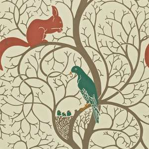 Обои Squirrel and Dove Teal Red DVIWSQ102