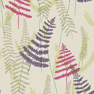 Обои Athyrium Plum Fuchsia Linen and Lime 110214