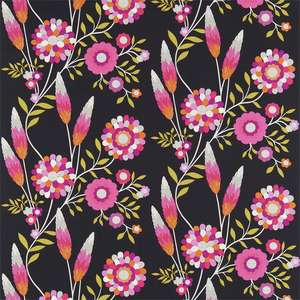 Ткань Funky Flowers Black Pink Orange Lime 120219