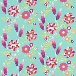 Ткань Funky Flowers Turquoise Pink Orange Lime 120220