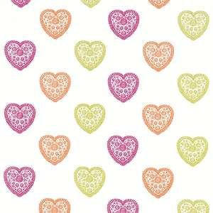 Ткань Sweet Heart Lime Orange Pink 130756
