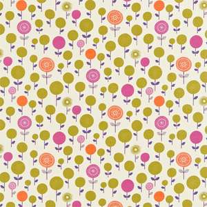 Ткань Lollipop Flower Neutral Olive Plum Tangerine and Fuchsia 120075